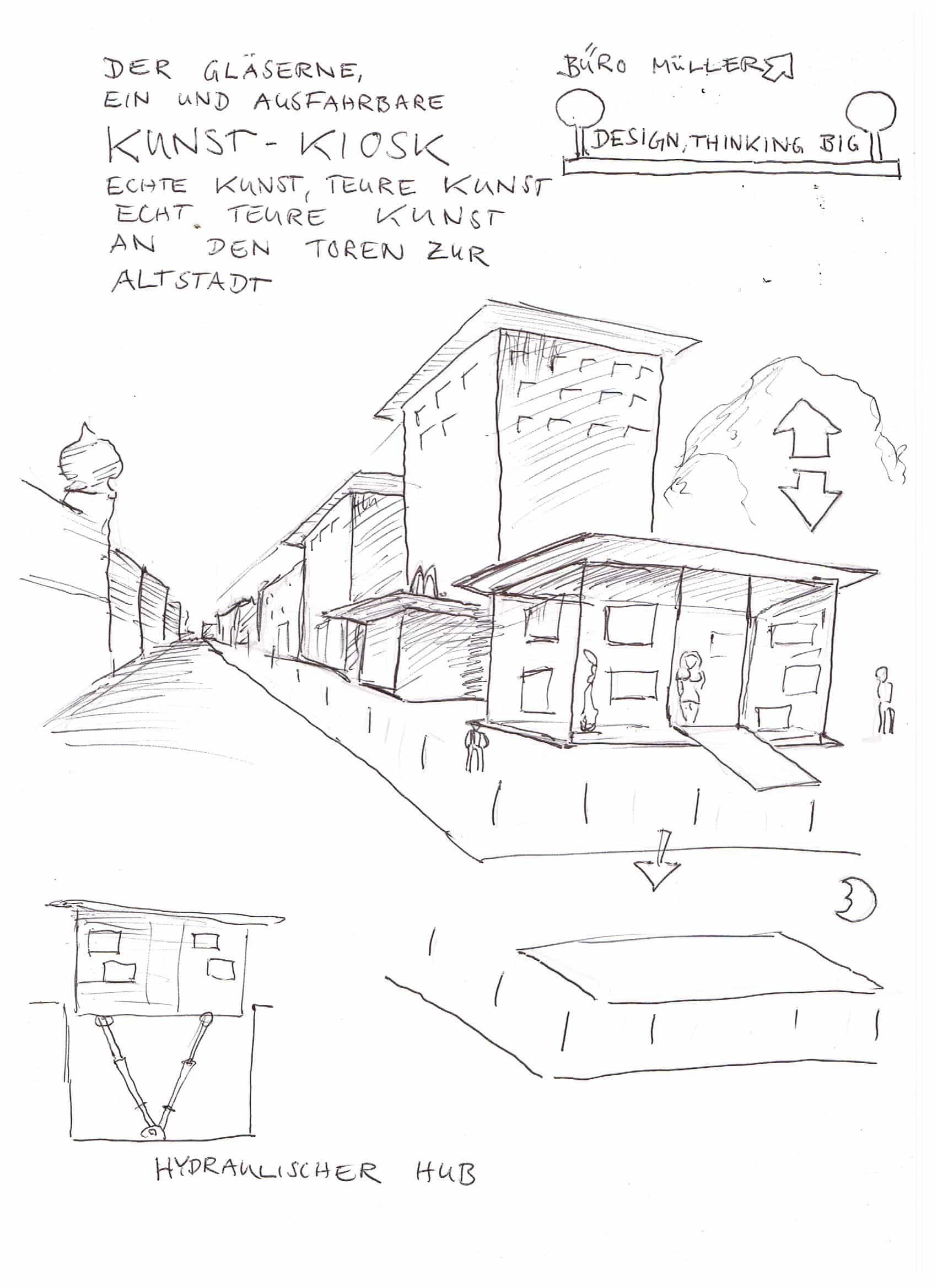 """Der gläserne, versenkbare Kunst-Kiosk. Echte Kunst, teure Kunst, echt teure Kunst an den Toren zur Altstadt."" Bild: ""BÜRO MÜLLER, DESIGN THINKIN BIG"""