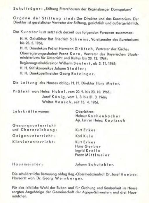 Auszug aus dem Jahrgangsbericht der Regensburger Domspatzen1965/66