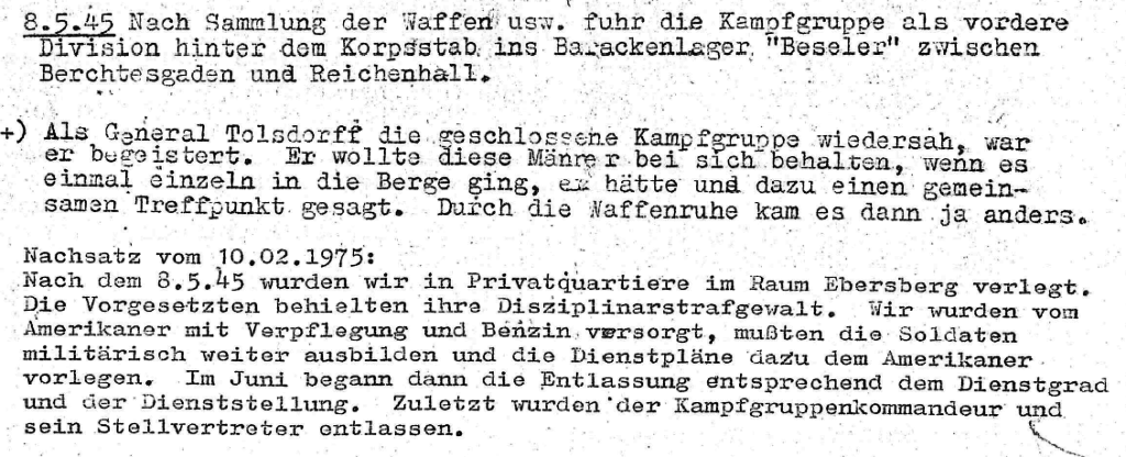 """General Tolsdorff war begeistert"": Auszug aus Bürgers ""Kriegstagebuch"", Stand 10.2.1975"