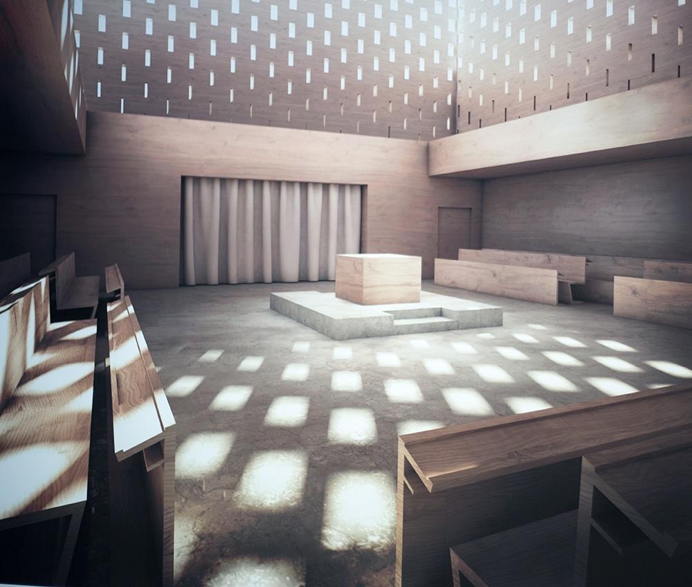 """So wie auf diesem """"Rendering"""" soll die Synagoge von innen aussehen. Foto: ld."""