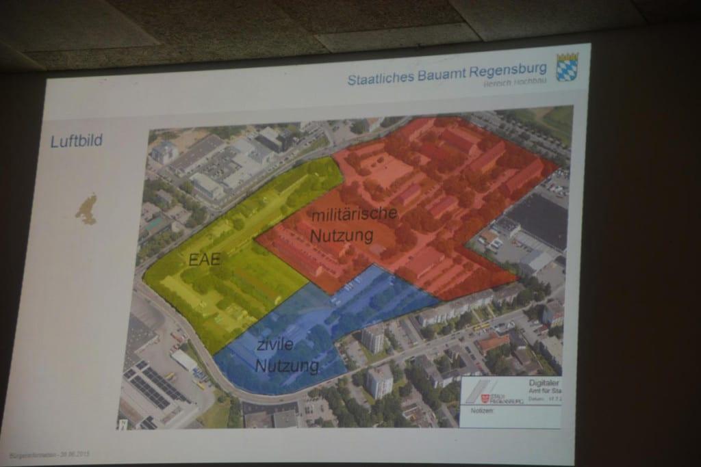 Die Erstaufnahmeeinrichtung (im Plan gelb) soll Ende 2016 fertig sein.
