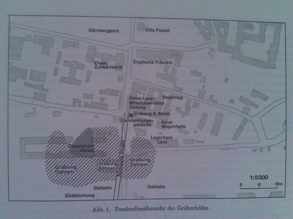 Eine Karte der Untersuchungen Dahlems. (Siegmar von Schnurbein: Das Römische Gräberfeld von Regensburg. (= Materialhefte z. Bayer. Vorgesch. Reihe A Band 31). Laßleben, Kallmünz 1977,)