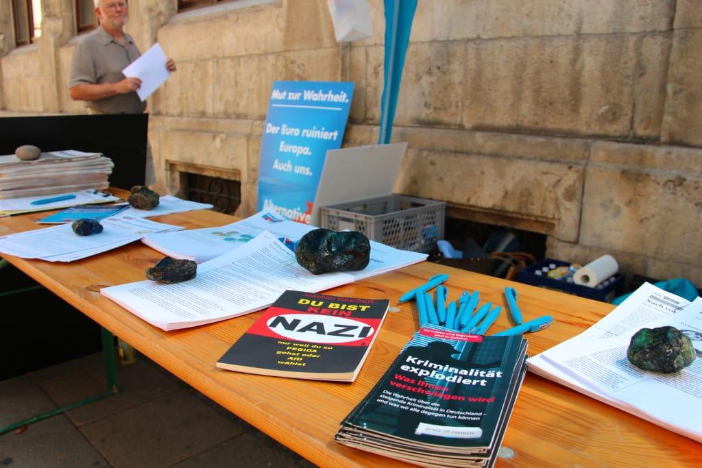 Infostand der AfD am Mittwoch in Regensburg. Fotos: Roth