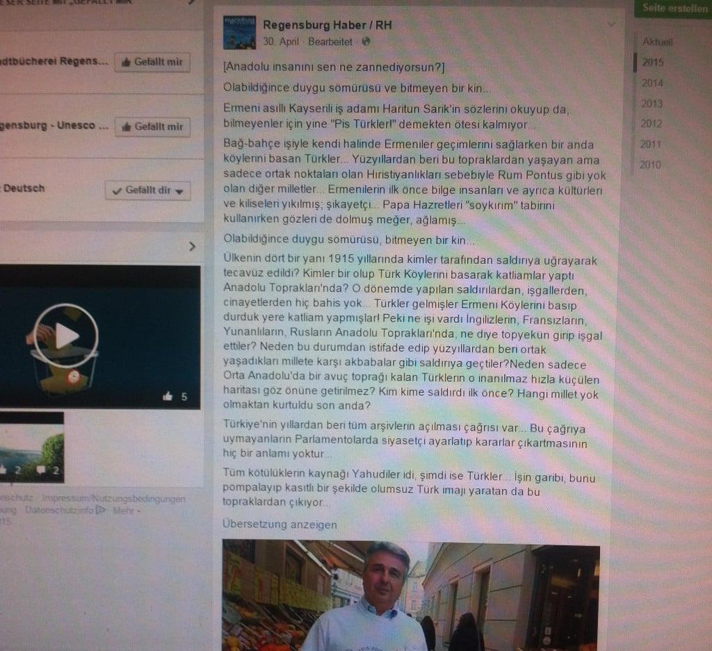 """""""Größtmögliche Ausnutzung von Gefühlen"""": Regensburg Haber über Haritun Sarik. Screenshot: Facebook"""