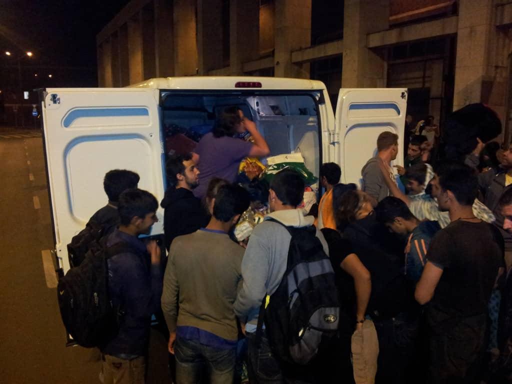 Versorgung von Flüchtlingen in Debrecen.