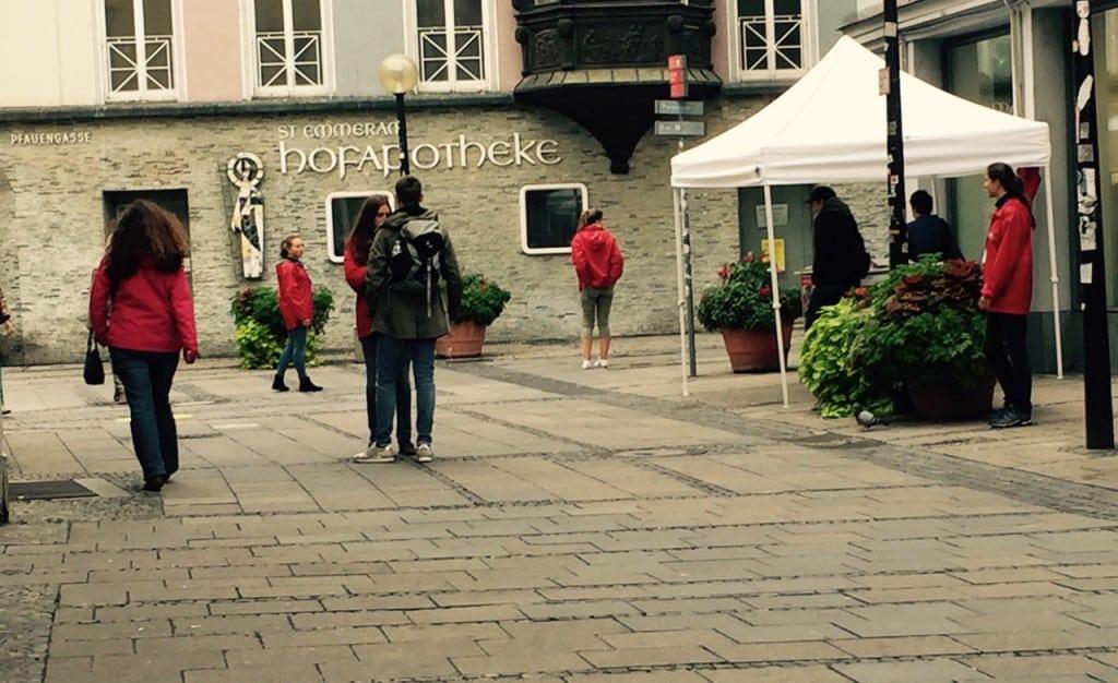 Spierutenlauf durch die Regensburger Altstadt: die erste Station...