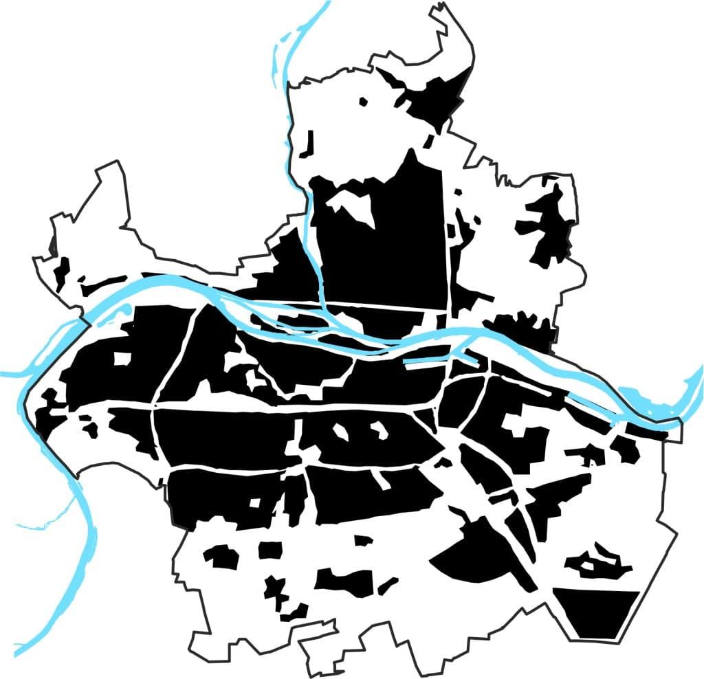 """Grafik """"Entwicklung der Siedlungsfläche Stadt Regensburg"""" aus: Statistisches Jahrbuch 2014 der Stadt Regensburg (Gewässer und Stadtgrenze entsprechen ihrem heutigen Stand)"""
