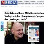 """Arbeitskampf beim Mittelbayerischen Verlag  mit der """"Dampframme"""" gegen das """"Krebsgeschwür"""" › Meedia"""