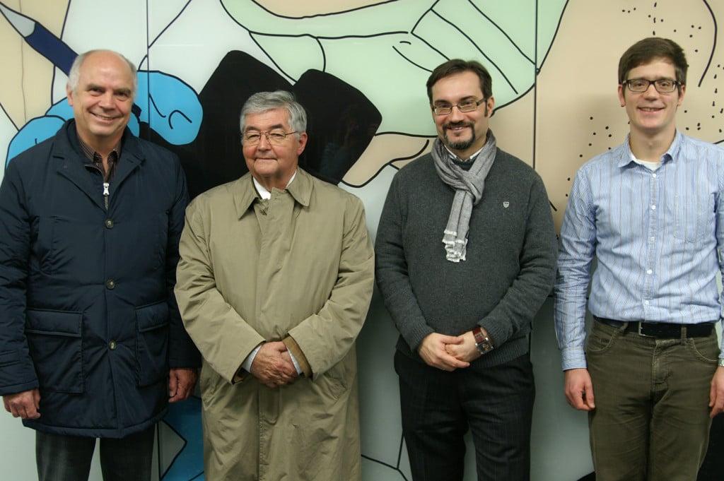 Der neue Vorstand des Alumnivereins ESdUR (von rechts nach links): Hartmut Duppel, Dr. Dario Vidojković, Wolfgang von Seiche-Nordenheim und Herbert Voß (Foto: Kerzdörfer)