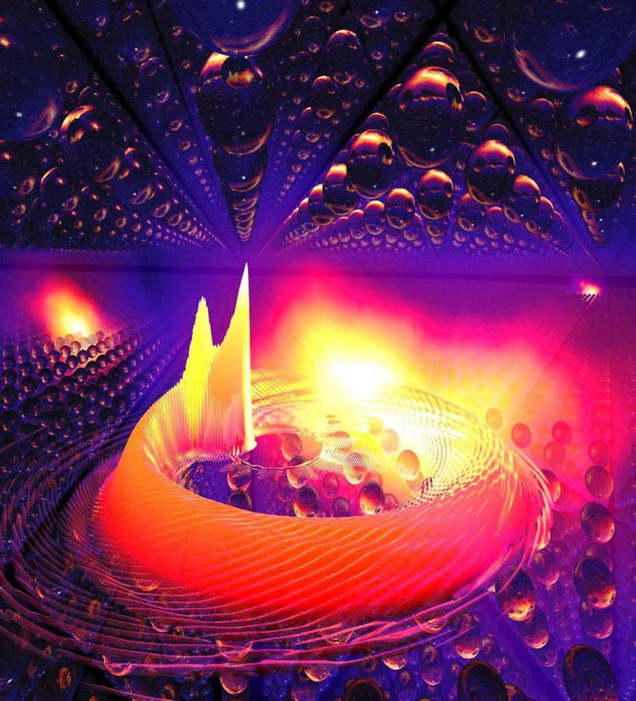 An eine nanometerdünne Halbleiterprobe wird ein starkes Magnetfeld angelegt, sodass Elektronen eine kreisförmige Bewegung vollführen, die hier anhand der runden Form der quantenmechanischen Wellenfunktion deutlich wird. Durch einen kurzen Lichtblitz schaukelt sich die Welle zu einer Taumelbewegung auf, sodass die hochangeregten Elektronen ungeahnt stark mit dem Kristallgitter wechselwirken. Bildnachweis: Dr. Christoph Lange