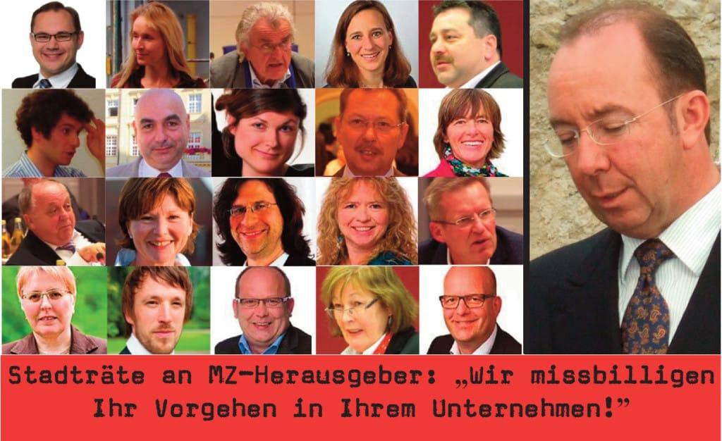 Die Unterzeichner des offenen Briefs an MZ-Verleger Peter Esser. Fotos: Archiv, Staudinger, Stadt Regensburg, pm