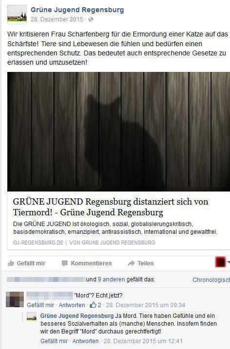"""Pressemitteilung der Grünen Jugend: """"Tiermord""""."""