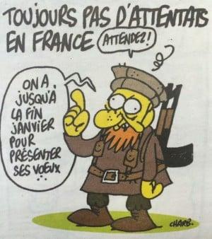 """""""Noch keine Attentate in Paris."""" Karikatur in der Charlie Habdo-Ausgabe vom 7. Januar 2015."""