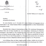 """Post aus dem Vatikan (zum Vergrößern anklicken): """"posthume Aberkennung nicht möglich""""."""