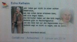 """Ikone von """"Echo Kelheim"""": die Holocaustleugnerin Ursula Haverbeck."""