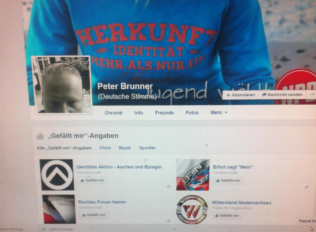 Bekennender Rassist: Peter Brunner. Screenshot: Archiv/ Facebook