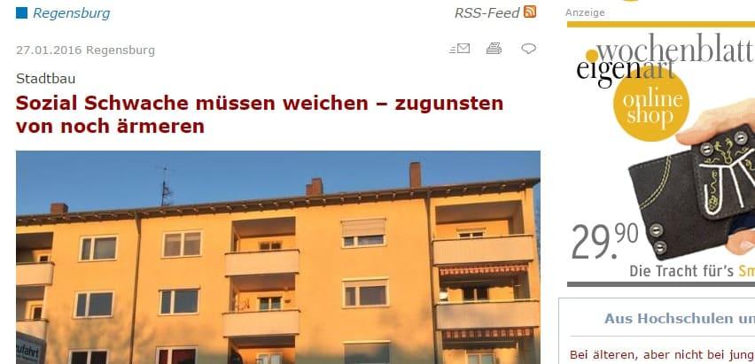 """""""Ein bisschen eigenartig"""": Schlagzeilen zu dem Thema beim Regensburger Wochenblatt."""