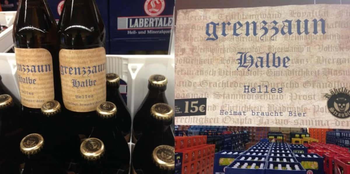 """""""Heimat braucht Bier"""": Die Grenzzaunhalbe von Röhrlbräu. Foto: Facebook"""