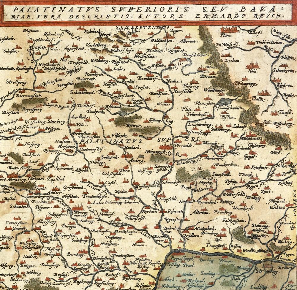 Gerard de Jode: Palatinatus Superioris Seu Bavariae Vera Descriptio, handkoloriert, Antwerpen 1578. Signatur: 999/Map.28.56 (Staatliche Bibliothek Regensburg)