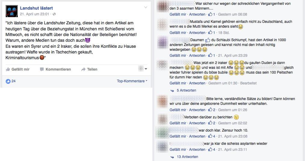 Nicht nur in den Beiträgen der Seite werden rechte und rassistische Meinungen vertreten. Auch in den Kommentarspalte trägt das Früchte.