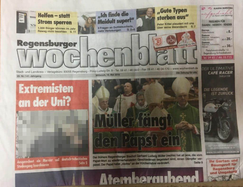 Die Titelseite des Regensburger Wochenblatts vom 18. Mai: Auftakt zu einer Kampagne.