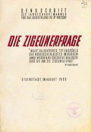 """Titelblatt der Schrift """"Die Zigeunerfrage"""" (1938) des österreichischen NS-Funktionärs Tobias Portschy."""