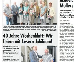 Der OB gab das Maskottchen für Wochenblatt-Verlosungen. Ausriss: Wochenblatt Regensburg