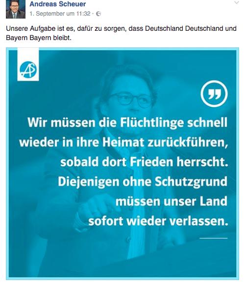 Mit Spruchbildchen paraphrasiert Scheuer gerne rechte Slogans. Foto: Screenshot Facebook