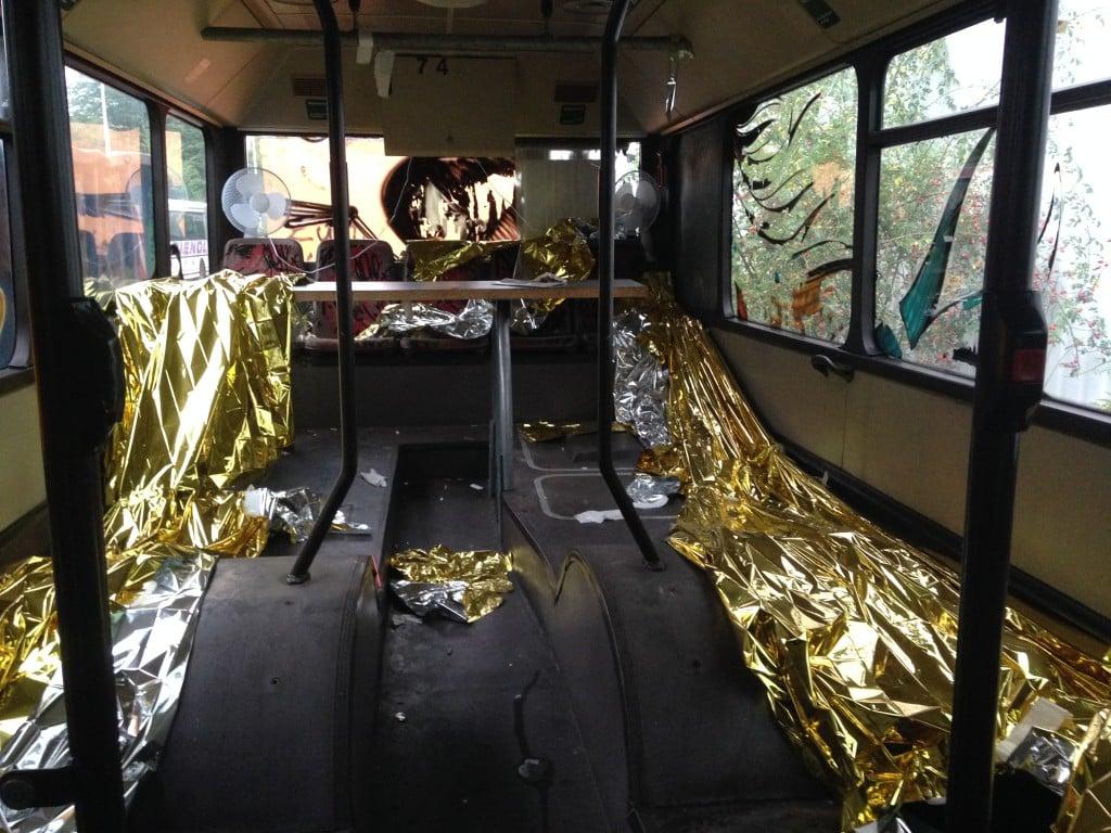 Weiternutzung eines Busses als abgespactes Partykabuff. Foto: om
