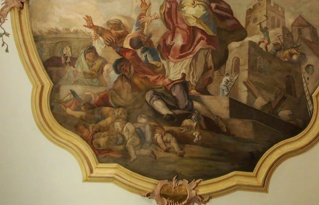 Ritualmordbeschuldigung in einem Fresko der Kassianskirche (2015). Foto: rw
