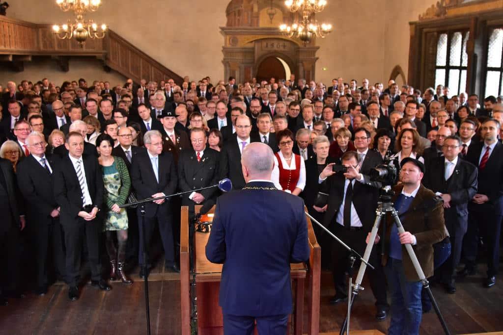 Rund 450 Gäste kamen laut städtischer Pressestelle in den Historischen Reichssaal. Foto: Staudinger
