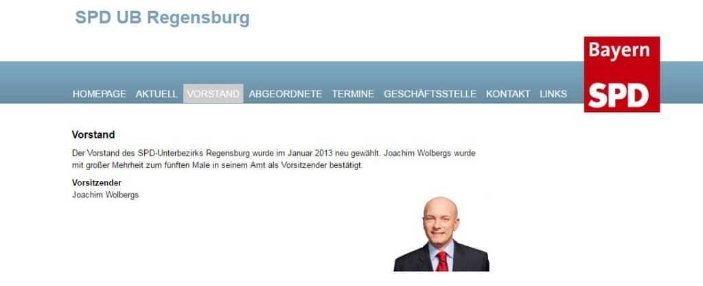 Der aktuelle Internet-Auftritt des SPD-Unterbezirks Regensburg.