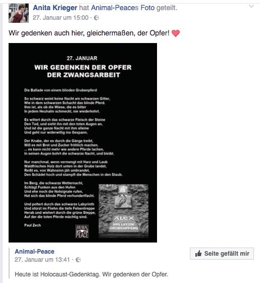 Anita Krieger gedenkt am Holocaust-Gedenktag der Pferde. Foto: Screenshot Facebook - Anita Krieger