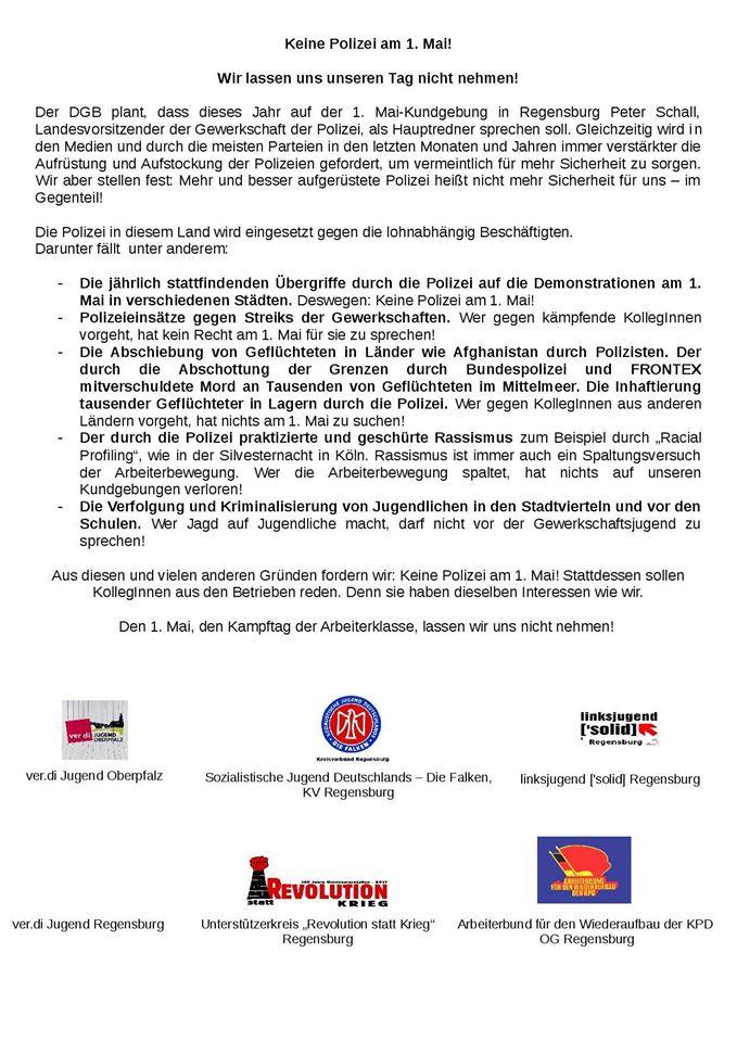Flugblatt gegen die Polizei beim 1. Mai. Foto: Facebook/Falken Regensburg