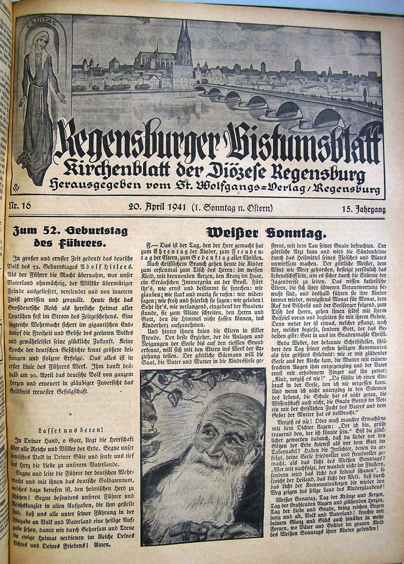 """Das Bistumsblatt jubiliert """"zum 52. Geburtstag des Führers""""."""