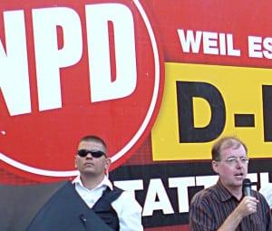 "Ob NPD oder Pegida: Karl Richter (re.) ist das ""völlig egal"". Foto: Archiv/ as"