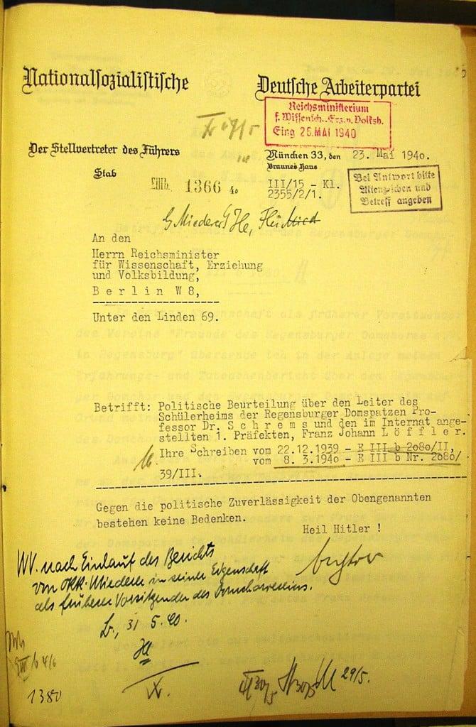 """Politische Beurteilung von Schrems, 1940: """"Keine Bedenken"""""""