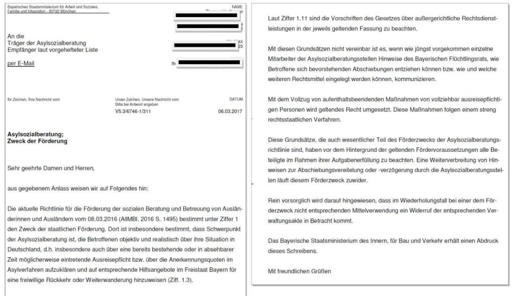 Das Schreiben des Sozialministeriums an die Asylberatungsstellen.