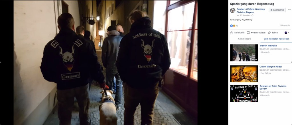 """""""Spaziergang durch Regensburg"""": Video auf der Facebook-Seite der """"Soldiers of Odin"""""""