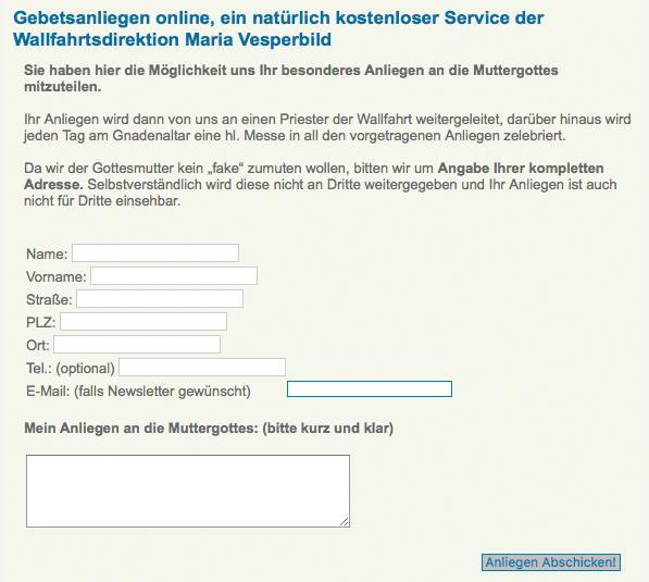 Auch Gläubige profitieren vom Breitbandausbau. Foto: Screenshot http://www.maria-vesperbild.de