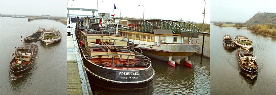 """9. November 1985: Die """"Johann Strauss"""" wird von der """"Freudenau"""" Richtung Wien geschleppt. Fotos: Heribert Heilmeier"""