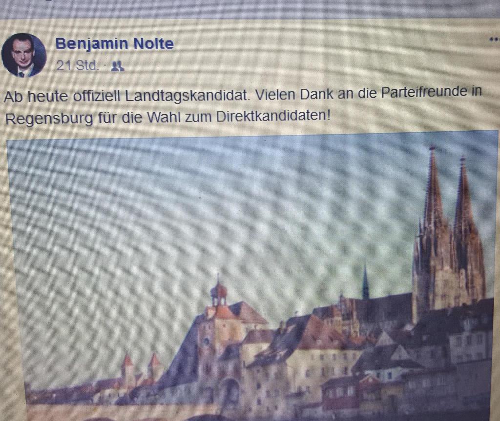 Freut sich auf seiner Facebook-Seite über die Nominierung: Benjamin Nolte. Screenshot: Facebook