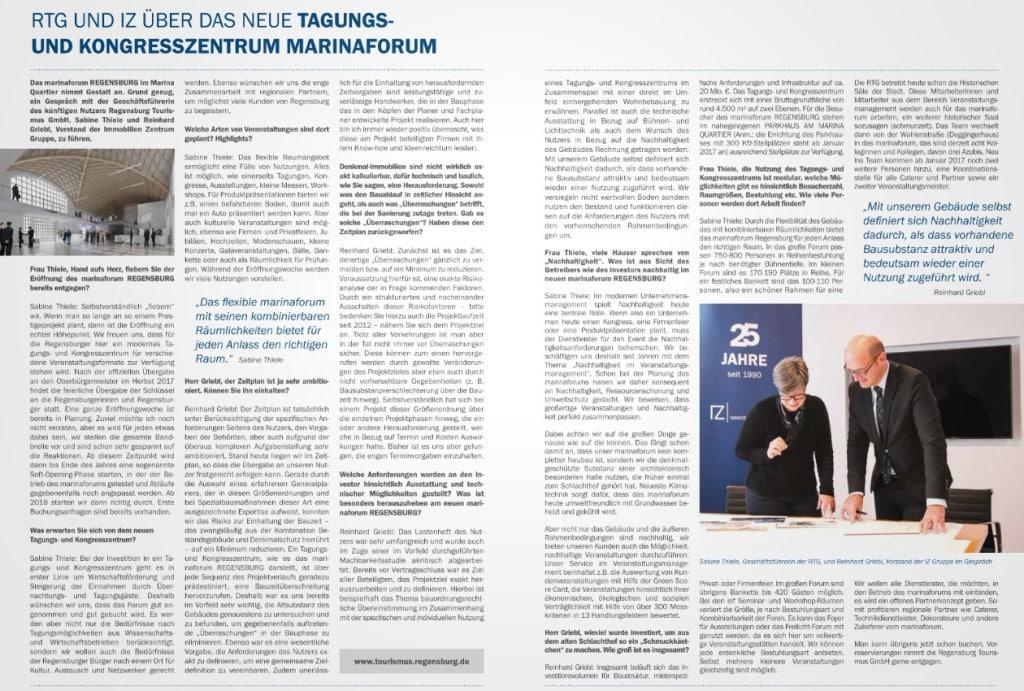 """Im Mai 2016 trat in der """"Regensburger Immobilien Zeitung"""" (herausgegeben vom IZ, verteilt von der MZ) noch die IZ-Gruppe als Bauherrin des """"marinaForums"""" auf. Wie und warum kam es zu dem Wechsel?"""