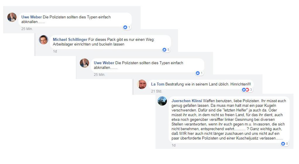 Eine kleine Auswahl an Kommentaren auf der Facebook-Seite des Regensburger Wochenblatts.