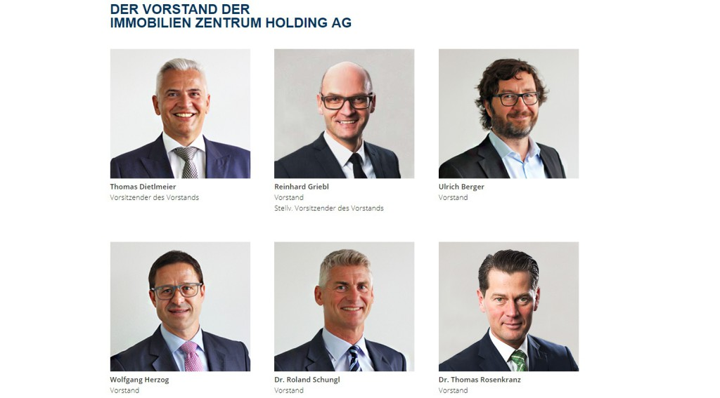 Ein Bild aus besseren Tagen: der komplette IZ-Vorstand bis 19. Dezember. Screenshot:  immobilienzentrum.de